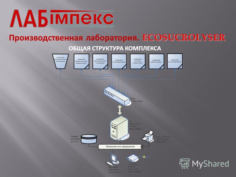 ECOSUCROLYSER Производственная лаборатория. ECOSUCROLYSER ОБЩАЯ СТРУКТУРА КОМПЛЕКСА