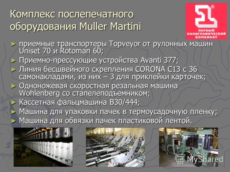 Комплекс послепечатного оборудования Muller Martini приемные транспортеры Topveyor от рулонных машин Uniset 70 и Rotoman 60; приемные транспортеры Topveyor от рулонных машин Uniset 70 и Rotoman 60; Приемно-прессующие устройства Avanti 377; Приемно-пр
