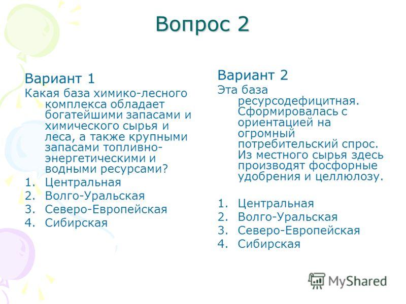 Вопрос 2 Вариант 1 Какая база химико-лесного комплекса обладает богатейшими запасами и химического сырья и леса, а также крупными запасами топливно- энергетическими и водными ресурсами? 1.Центральная 2.Волго-Уральская 3.Северо-Европейская 4.Сибирская