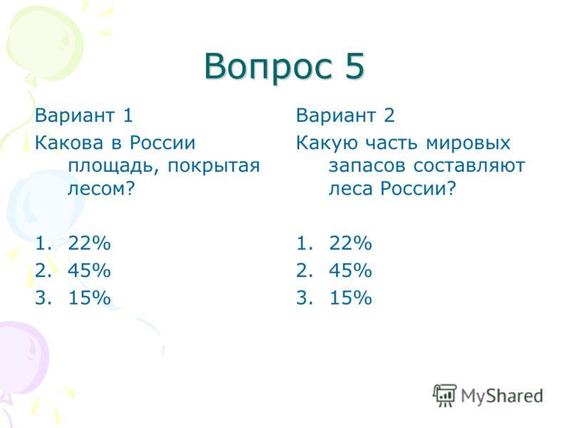 Вопрос 5 Вариант 1 Какова в России площадь, покрытая лесом? 1.22% 2.45% 3.15% Вариант 2 Какую часть мировых запасов составляют леса России? 1.22% 2.45% 3.15%