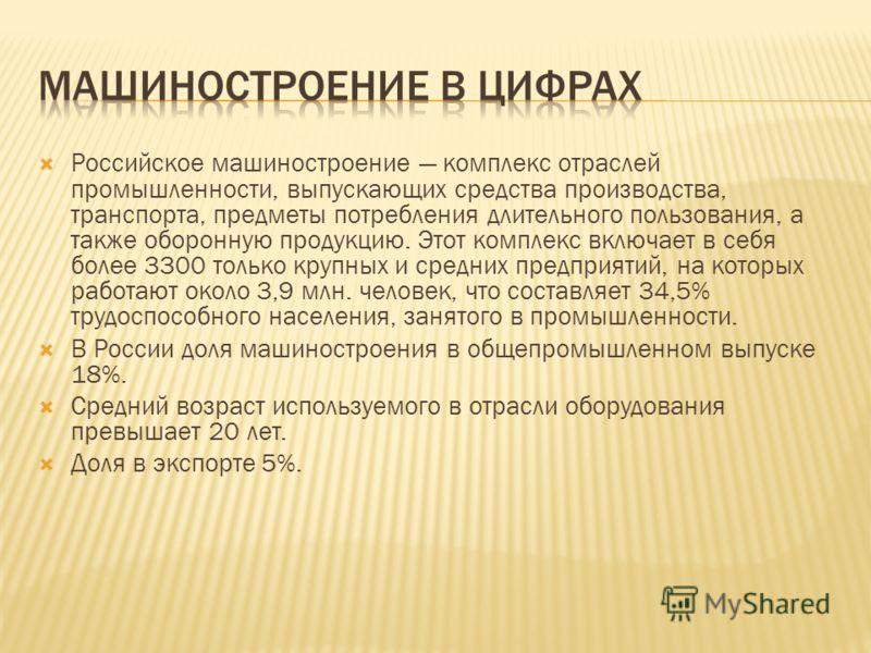 Российское машиностроение комплекс отраслей промышленности, выпускающих средства производства, транспорта, предметы потребления длительного пользования, а также оборонную продукцию. Этот комплекс включает в себя более 3300 только крупных и средних пр