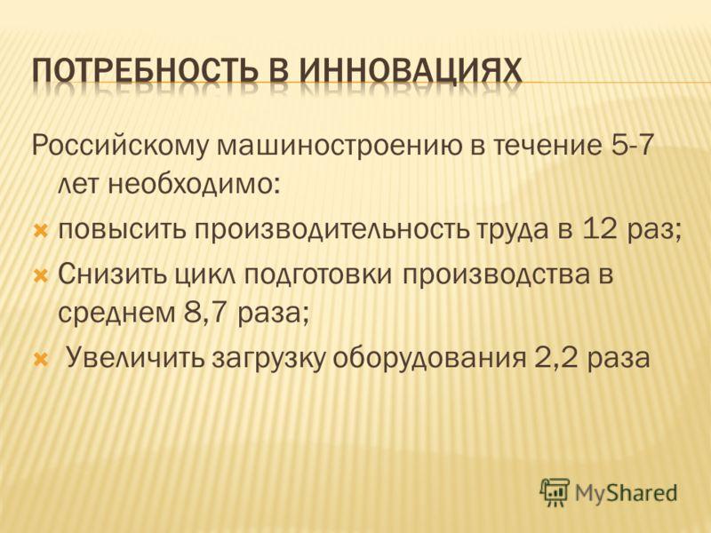 Российскому машиностроению в течение 5-7 лет необходимо: повысить производительность труда в 12 раз; Снизить цикл подготовки производства в среднем 8,7 раза; Увеличить загрузку оборудования 2,2 раза