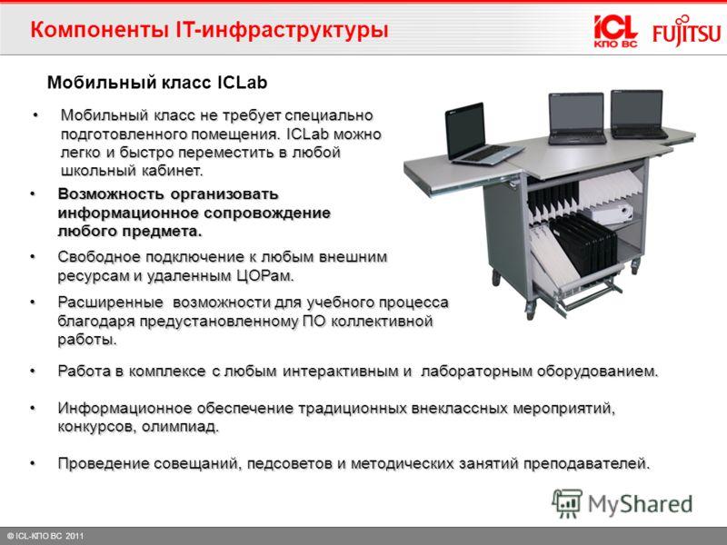 © ICL-КПО ВС 2011 Мобильный класс не требует специально подготовленного помещения. ICLab можно легко и быстро переместить в любой школьный кабинет.Мобильный класс не требует специально подготовленного помещения. ICLab можно легко и быстро переместить