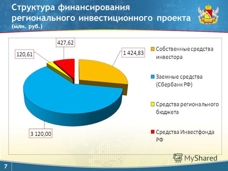 Структура финансирования регионального инвестиционного проекта (млн. руб.) 7