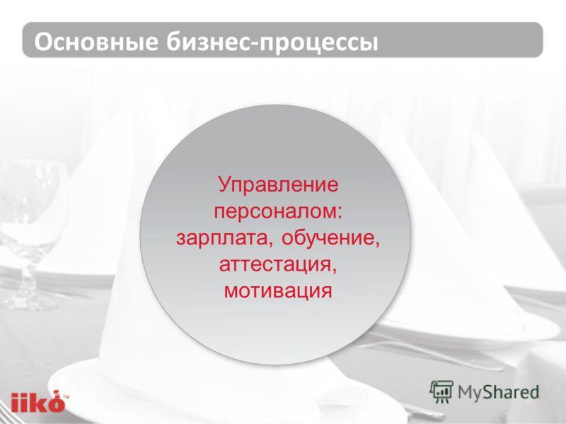 Основные бизнес-процессы Управление персоналом: зарплата, обучение, аттестация, мотивация