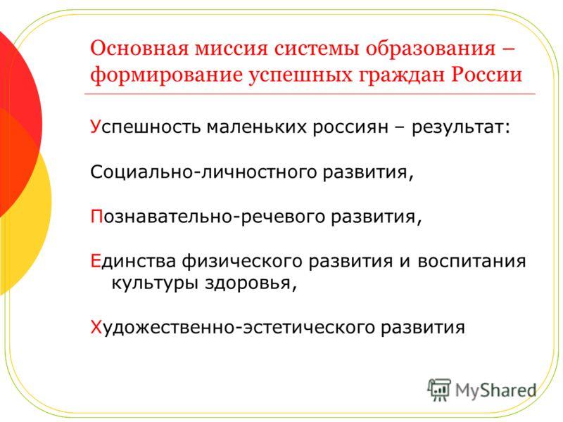 Основная миссия системы образования – формирование успешных граждан России Успешность маленьких россиян – результат: Социально-личностного развития, Познавательно-речевого развития, Единства физического развития и воспитания культуры здоровья, Художе