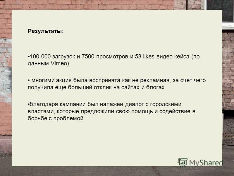Результаты: 100 000 загрузок и 7500 просмотров и 53 likes видео кейса (по данным Vimeo) многими акция была воспринята как не рекламная, за счет чего получила еще больший отклик на сайтах и блогах благодаря кампании был налажен диалог с городскими вла