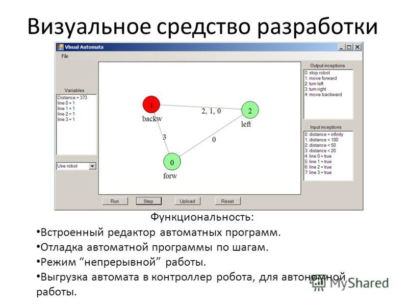 Визуальное средство разработки Функциональность: Встроенный редактор автоматных программ. Отладка автоматной программы по шагам. Режим непрерывной работы. Выгрузка автомата в контроллер робота, для автономной работы.