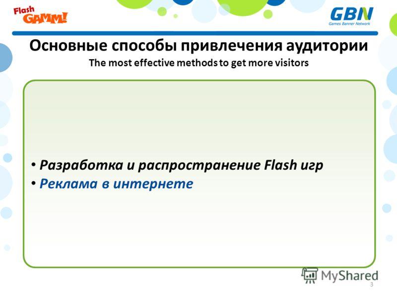 Основные способы привлечения аудитории The most effective methods to get more visitors Разработка и распространение Flash игр Реклама в интернете 3