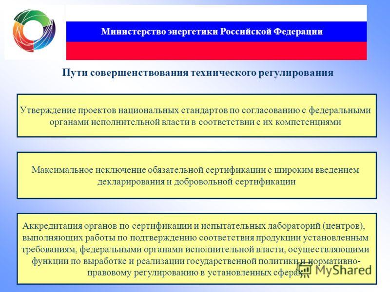 Министерство энергетики Российской Федерации Пути совершенствования технического регулирования Утверждение проектов национальных стандартов по согласованию с федеральными органами исполнительной власти в соответствии с их компетенциями Максимальное и