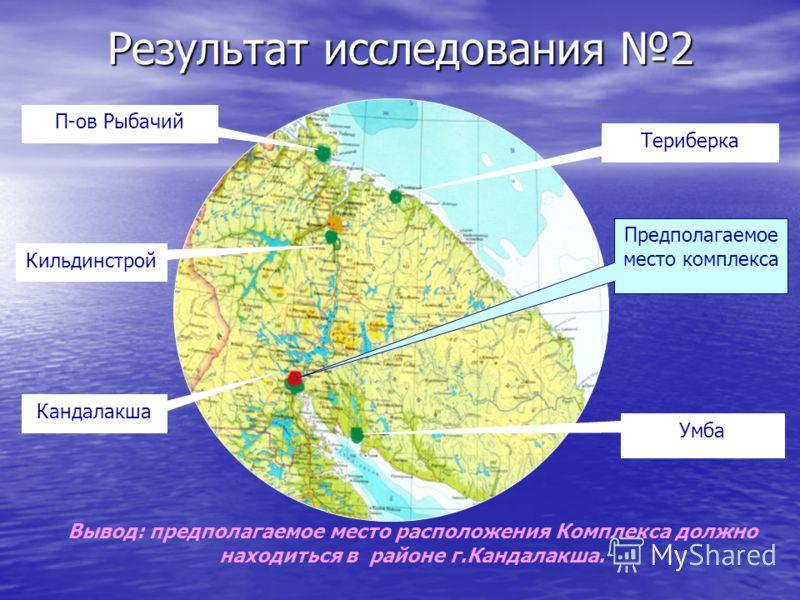 Результат исследования 2 П-ов Рыбачий Териберка Кильдинстрой Кандалакша Умба Предполагаемое место комплекса Вывод: предполагаемое место расположения Комплекса должно находиться в районе г.Кандалакша.