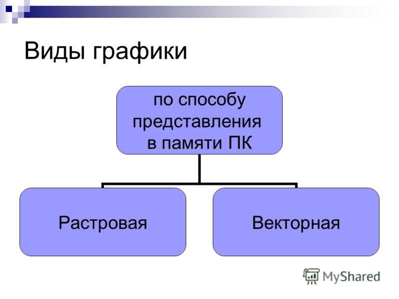 Виды графики по способу представления в памяти ПК РастроваяВекторная