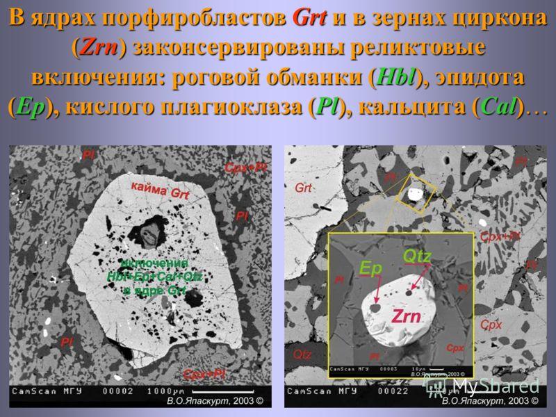 В ядрах порфиробластов Grt и в зернах циркона (Zrn) законсервированы реликтовые включения: роговой обманки (Hbl), эпидота (Ep), кислого плагиоклаза (Pl), кальцита (Cal)…