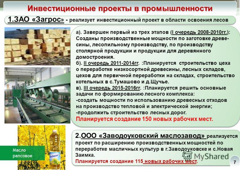 Основные промышленные предприятия 6 ЗАО «Кедр-маркетинг» ЗАО «Загрослеспромкомплект»