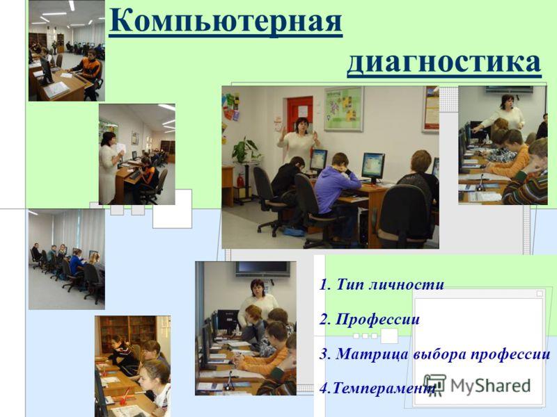 Компьютерная диагностика 1. Тип личности 2. Профессии 3. Матрица выбора профессии 4.Темперамент