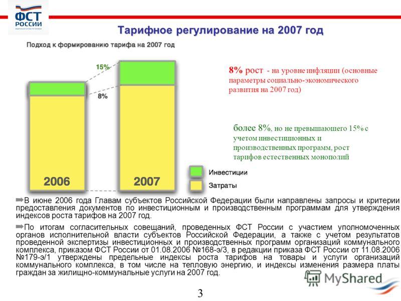 3 Тарифное регулирование на 2007 год В июне 2006 года Главам субъектов Российской Федерации были направлены запросы и критерии предоставления документов по инвестиционным и производственным программам для утверждения индексов роста тарифов на 2007 го