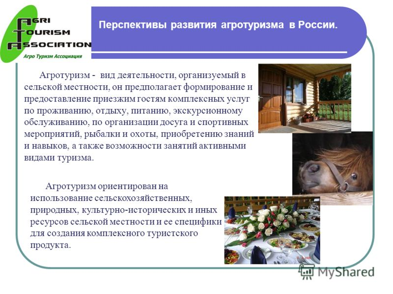 Перспективы развития агротуризма в России. Агротуризм - вид деятельности, организуемый в сельской местности, он предполагает формирование и предоставление приезжим гостям комплексных услуг по проживанию, отдыху, питанию, экскурсионному обслуживанию,