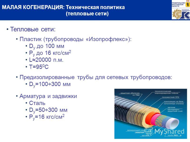 МАЛАЯ КОГЕНЕРАЦИЯ: Техническая политика (тепловые сети) Тепловые сети: Пластик (трубопроводы «Изопрофлекс»): D y до 100 мм Р у до 16 кгс/см 2 L20000 п.м. T=95 0 C Предизолированные трубы для сетевых трубопроводов: D y =100÷300 мм Арматура и задвижки