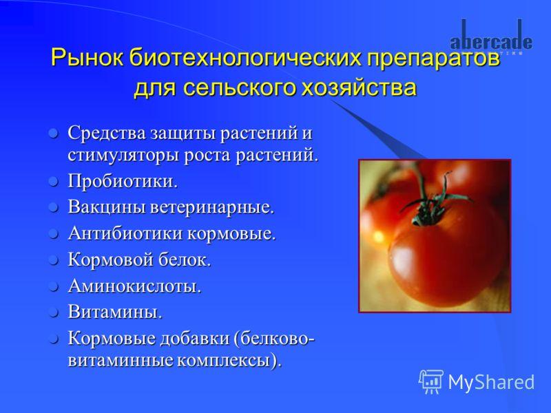 Рынок биотехнологических препаратов для сельского хозяйства Средства защиты растений и стимуляторы роста растений. Средства защиты растений и стимуляторы роста растений. Пробиотики. Пробиотики. Вакцины ветеринарные. Вакцины ветеринарные. Антибиотики