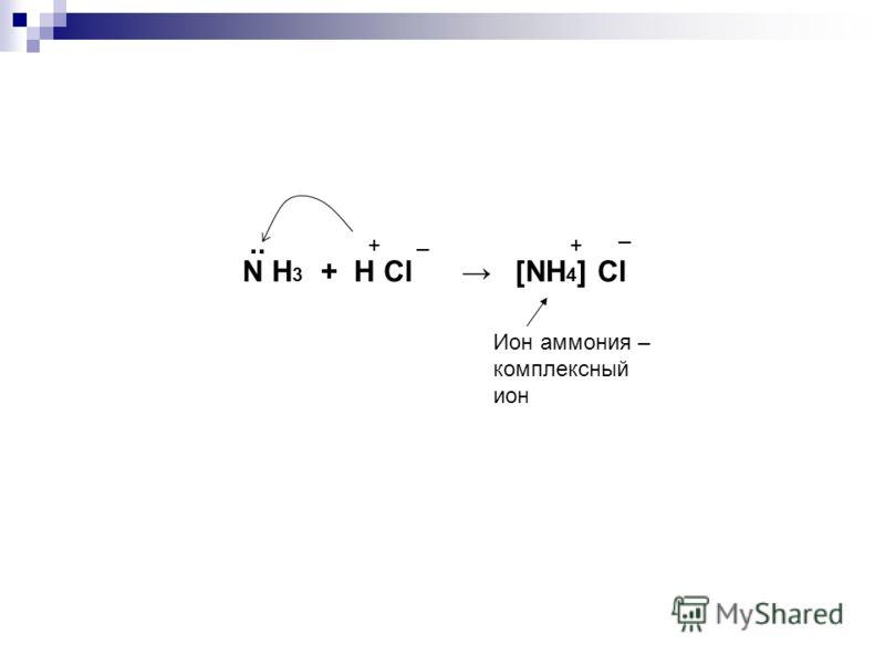 N H 3 + H Cl [NH 4 ] Cl + _.. + _ Ион аммония – комплексный ион