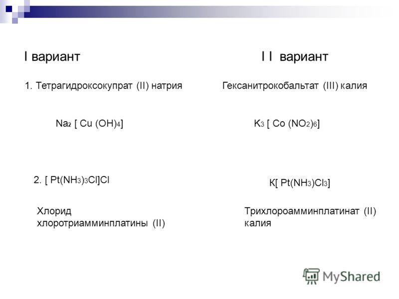 I вариант I I вариант 1. Тетрагидроксокупрат (II) натрияГексанитрокобальтат (III) калия 2. [ Рt(NН 3 ) 3 Сl]Сl К[ Рt(NН 3 )Сl 3 ] Na 2 [ Cu (OH) 4 ]K 3 [ Co (NO 2 ) 6 ] Хлорид хлоротриамминплатины (II) Трихлороамминплатинат (II) калия