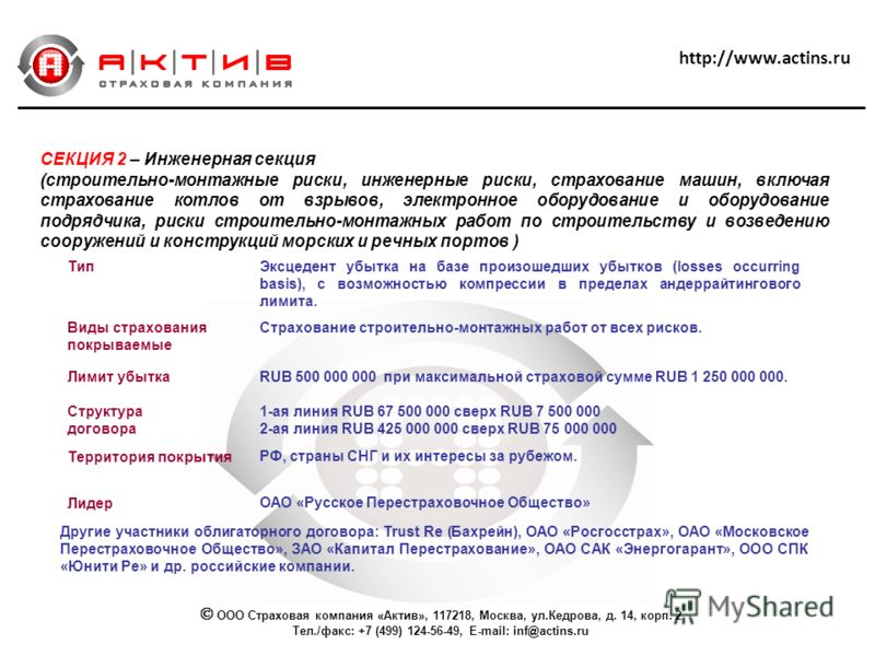 http://www.actins.ru СЕКЦИЯ 2 – Инженерная секция (строительно-монтажные риски, инженерные риски, страхование машин, включая страхование котлов от взрывов, электронное оборудование и оборудование подрядчика, риски строительно-монтажных работ по строи