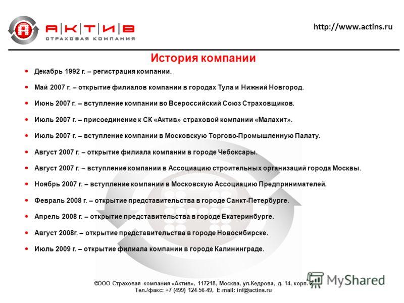 Декабрь 1992 г. – регистрация компании. Май 2007 г. – открытие филиалов компании в городах Тула и Нижний Новгород. Июнь 2007 г. – вступление компании во Всероссийский Союз Страховщиков. Июль 2007 г. – присоединение к СК «Актив» страховой компании «Ма