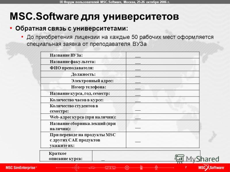 7 IX Форум пользователей MSC.Software, Москва, 25-26 октября 2006 г. MSC.Software для университетов Обратная связь с университетами: До приобретения лицензии на каждые 50 рабочих мест оформляется специальная заявка от преподавателя ВУЗа Название ВУЗа