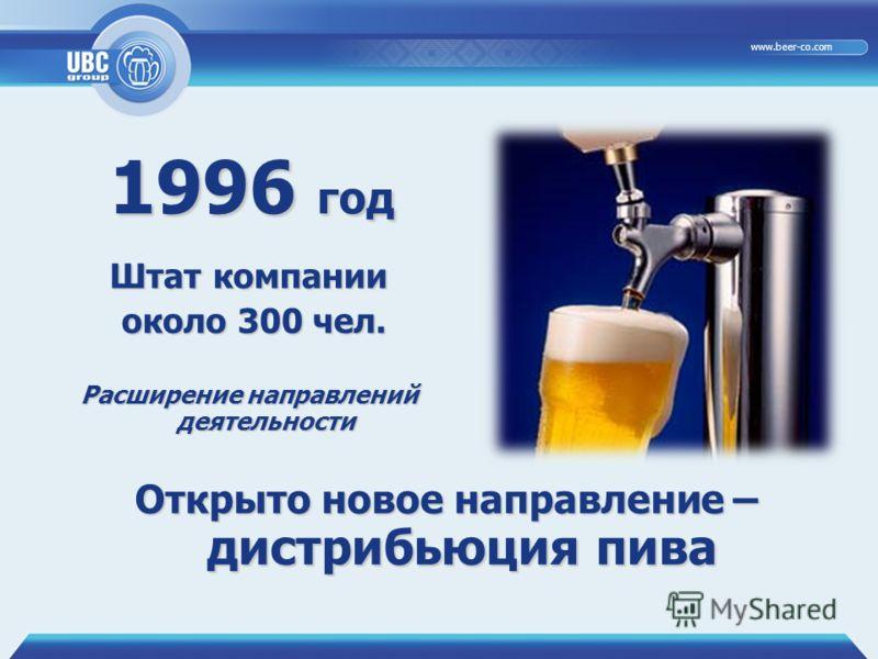29.06.20126 www.beer-co.com 1996 год Открыто новое направление – дистрибьюция пива Штат компании около 300 чел. около 300 чел. Расширение направлений деятельности