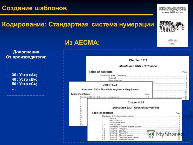 Создание шаблонов Кодирование: Стандартная система нумерации Из AECMA: Дополнения От производителя: 30 : Устр «А»; 40 : Устр «B»; 50 : Устр «C»; …