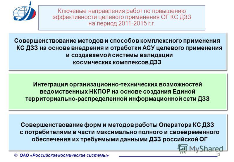 © ОАО «Российские космические системы» 13 Ключевые направления работ по повышению эффективности целевого применения ОГ КС ДЗЗ на период 2011-2015 г.г. Интеграция организационно-технических возможностей ведомственных НКПОР на основе создания Единой те