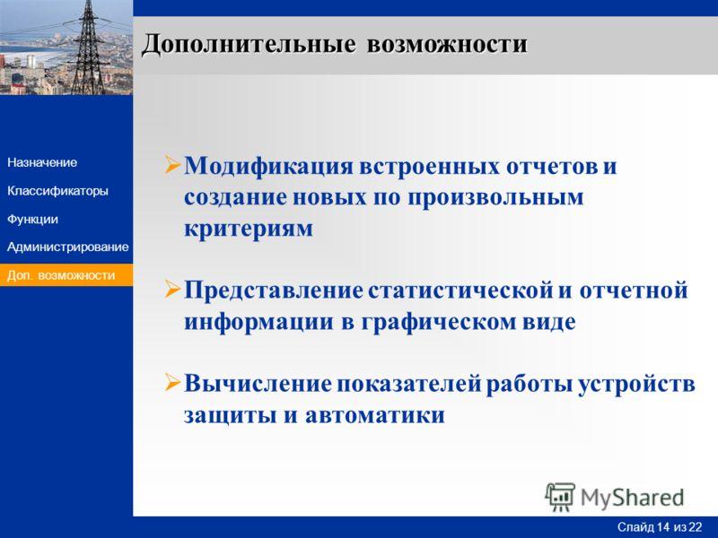 Слайд 14 Слайд 14 из 22 Назначение Функции Классификаторы Администрирование Доп. возможности Модификация встроенных отчетов и создание новых по произвольным критериям Представление статистической и отчетной информации в графическом виде Вычисление по