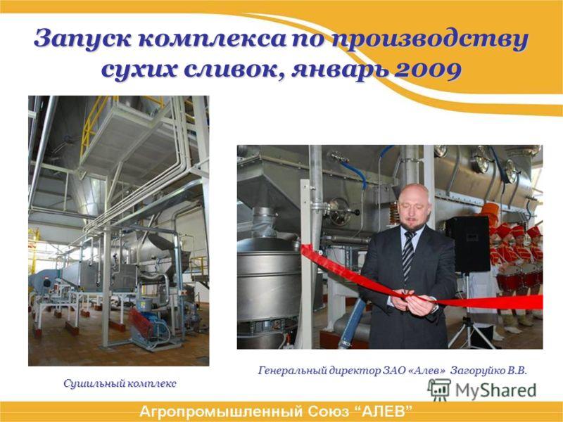 Запуск комплекса по производству сухих сливок, январь 2009 Генеральный директор ЗАО «Алев» Загоруйко В.В. Сушильный комплекс