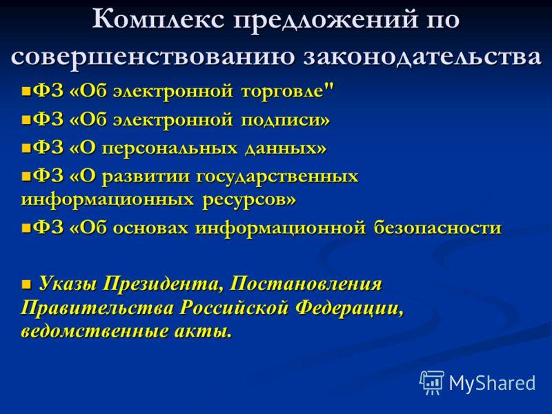Комплекс предложений по совершенствованию законодательства ФЗ «Об электронной торговле