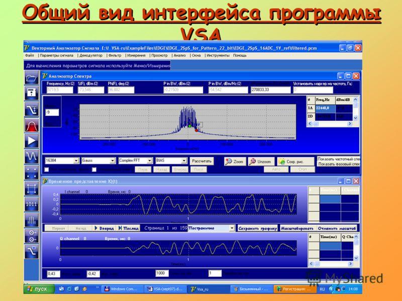 Общий вид интерфейса программы VSA