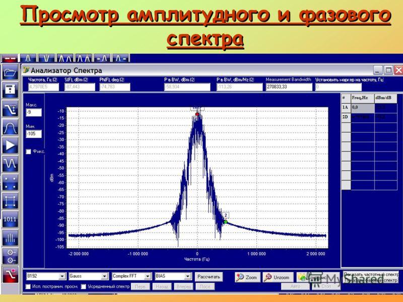 Просмотр амплитудного и фазового спектра