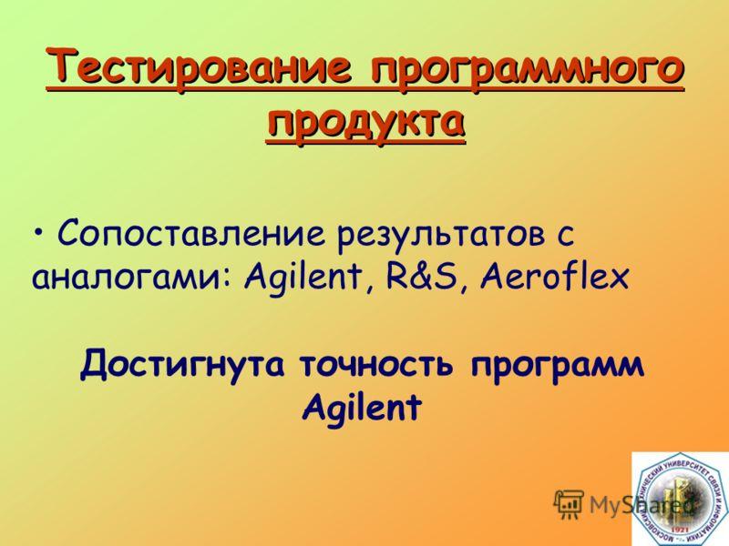Тестирование программного продукта Сопоставление результатов с аналогами: Agilent, R&S, Aeroflex Достигнута точность программ Agilent