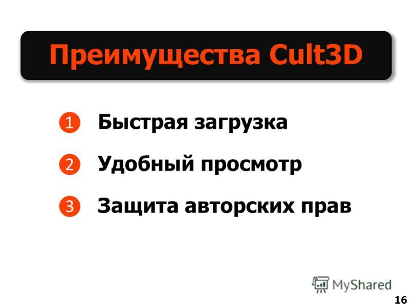 Преимущества Cult3D Быстрая загрузка Удобный просмотр Защита авторских прав 16
