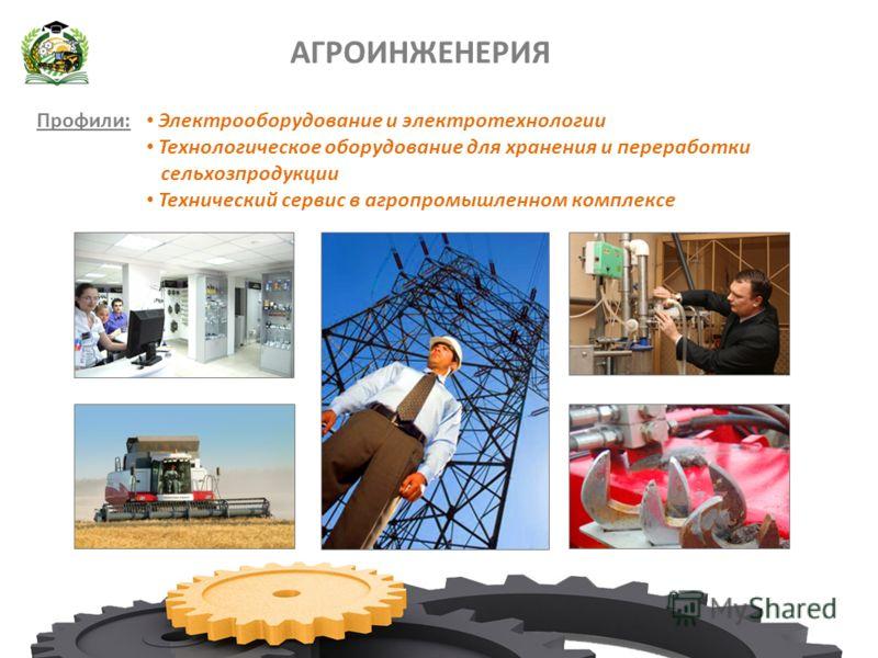 АГРОИНЖЕНЕРИЯ Профили: Электрооборудование и электротехнологии Технологическое оборудование для хранения и переработки сельхозпродукции Технический сервис в агропромышленном комплексе