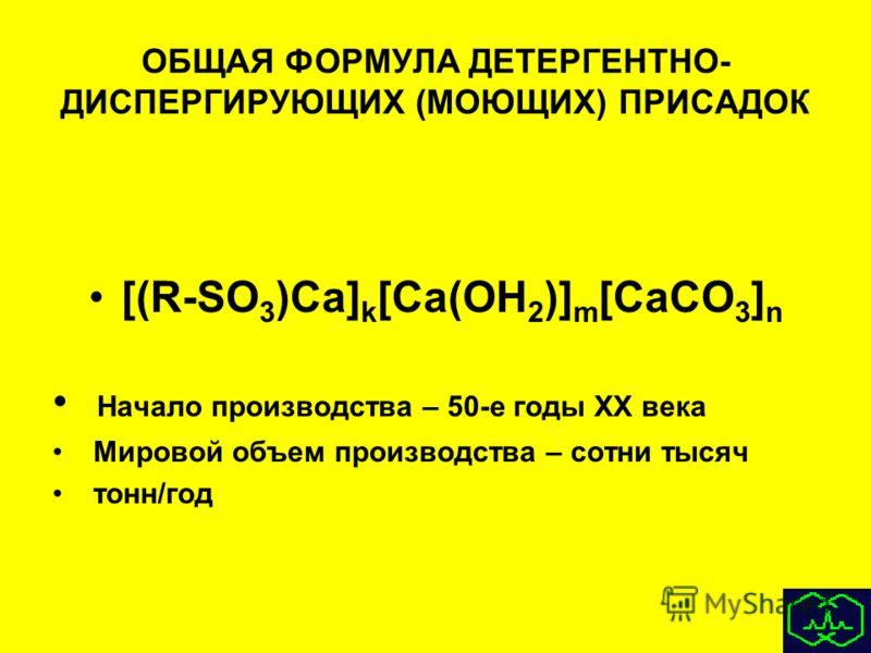 ОБЩАЯ ФОРМУЛА ДЕТЕРГЕНТНО- ДИСПЕРГИРУЮЩИХ (МОЮЩИХ) ПРИСАДОК [(R-SO 3 )Ca] k [Ca(OH 2 )] m [CaCO 3 ] n Начало производства – 50-е годы XX века Мировой объем производства – сотни тысяч тонн/год