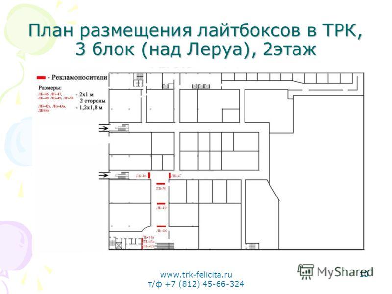 www.trk-felicita.ru т/ф +7 (812) 45-66-324 10 План размещения лайтбоксов в ТРК, 3 блок (над Леруа), 2этаж