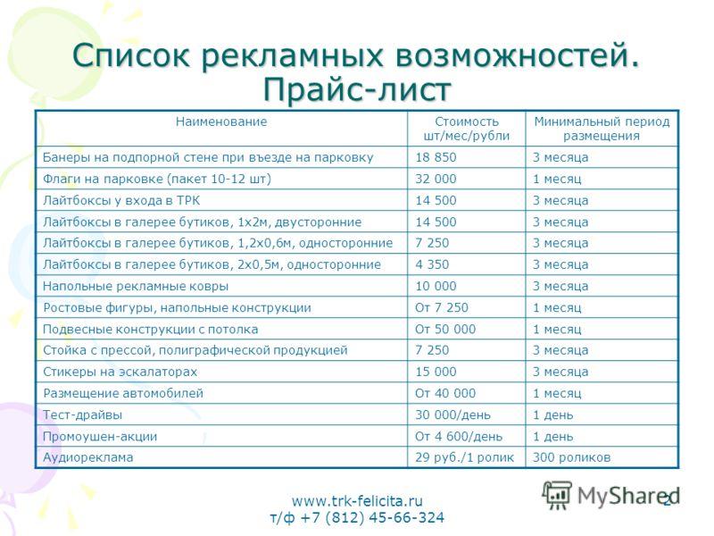 www.trk-felicita.ru т/ф +7 (812) 45-66-324 2 Список рекламных возможностей. Прайс-лист НаименованиеСтоимость шт/мес/рубли Минимальный период размещения Банеры на подпорной стене при въезде на парковку18 8503 месяца Флаги на парковке (пакет 10-12 шт)3