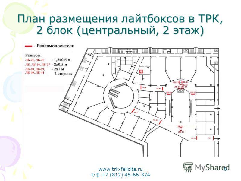 www.trk-felicita.ru т/ф +7 (812) 45-66-324 8 План размещения лайтбоксов в ТРК, 2 блок (центральный, 2 этаж)