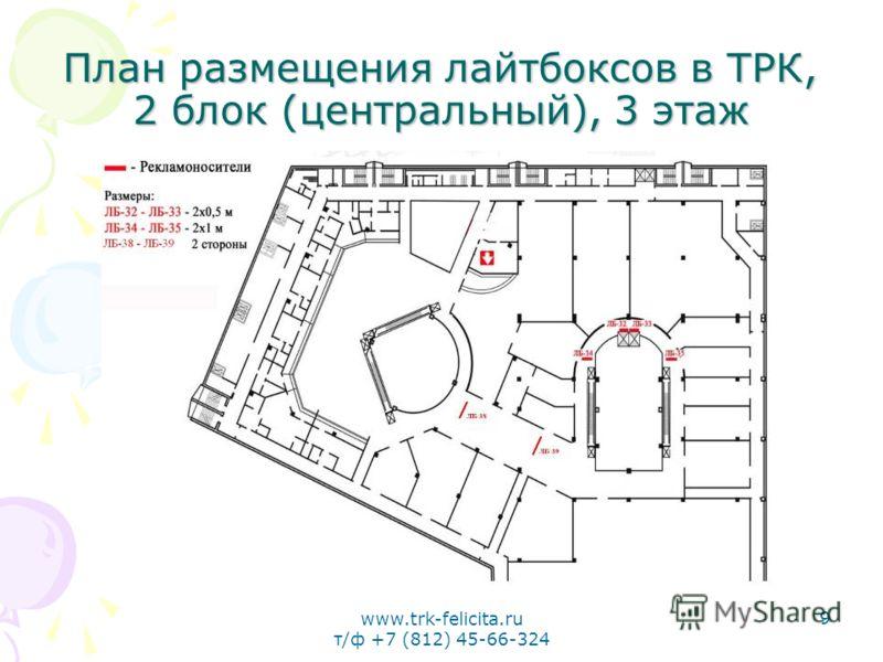 www.trk-felicita.ru т/ф +7 (812) 45-66-324 9 План размещения лайтбоксов в ТРК, 2 блок (центральный), 3 этаж