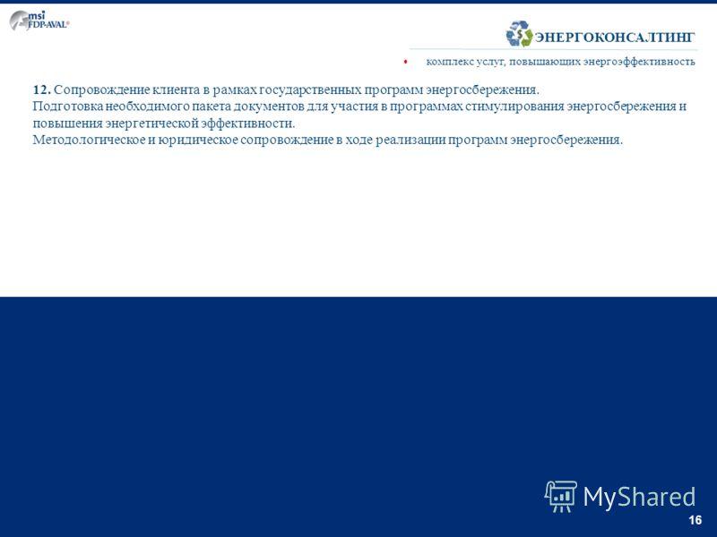 16 12. Сопровождение клиента в рамках государственных программ энергосбережения. Подготовка необходимого пакета документов для участия в программах стимулирования энергосбережения и повышения энергетической эффективности. Методологическое и юридическ