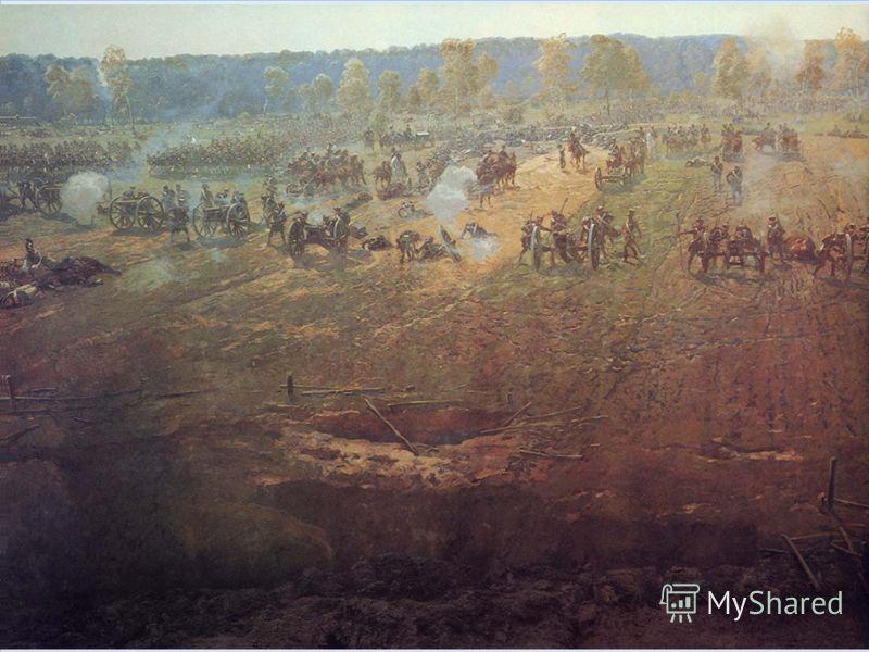 На фрагменте изображены французские позиции. На переднем плане французская артиллерия генерала Сорбье, расположившаяся вдоль Семеновского оврага, которая поддерживает огнем атаку кирасир генерала Нансути и пехотной дивизии генерала Фриана. Конная бат