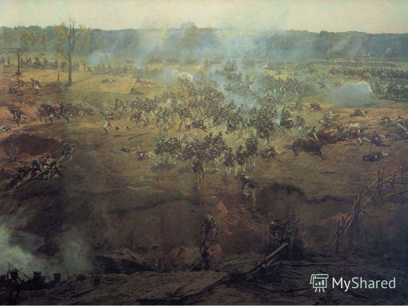 Французская артиллерия, расположившаяся вдоль Семеновского оврага, поддерживает огнем атаку кирасир на боевые порядки Измайловского и Литовского полков. На переднем плане в атаку идет французская пехота под командованием генерала Фриана, их передовые