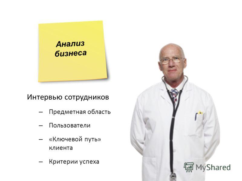 Интервью сотрудников – Предметная область – Пользователи – «Ключевой путь» клиента – Критерии успеха Анализ бизнеса
