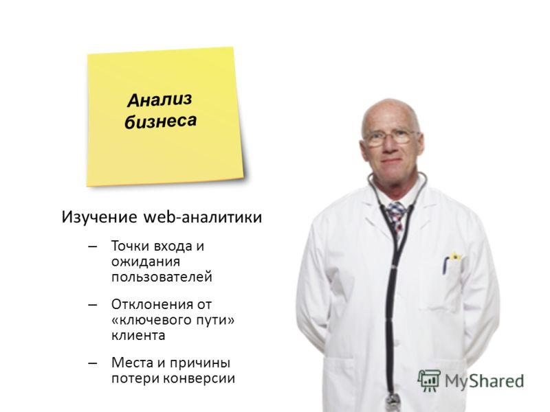 Изучение web -аналитики – Точки входа и ожидания пользователей – Отклонения от «ключевого пути» клиента – Места и причины потери конверсии Анализ бизнеса