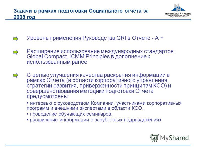 10 Задачи в рамках подготовки Социального отчета за 2008 год Уровень применения Руководства GRI в Отчете - А + Расширение использование международных стандартов: Global Compact, ICMM Principles в дополнение к использованным ранее С целью улучшения ка